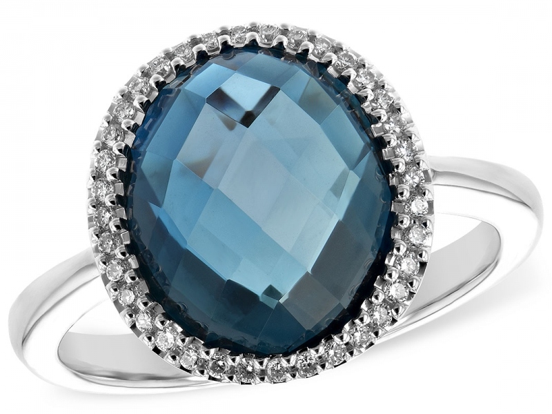 Ladies 5.31ct London Blue topaz and Diamond Halo Ring with Total gem weight 5.45.