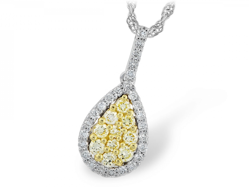 14 K White Teardrop Necklace with .24 Yellow diamonds & .40 TW White Diamonds