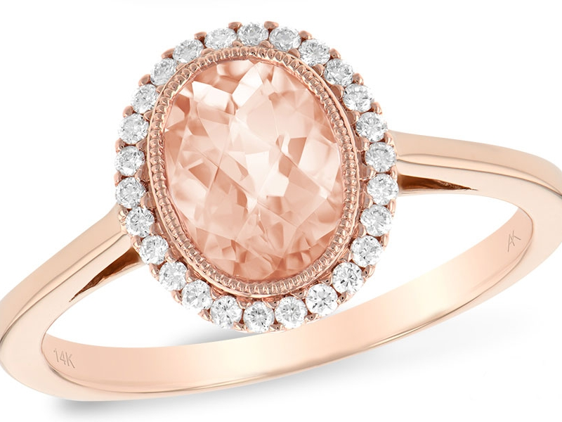 14 K Rose Gold 1.03 Oval Morganite and Diamond 1.18 TGW Ring