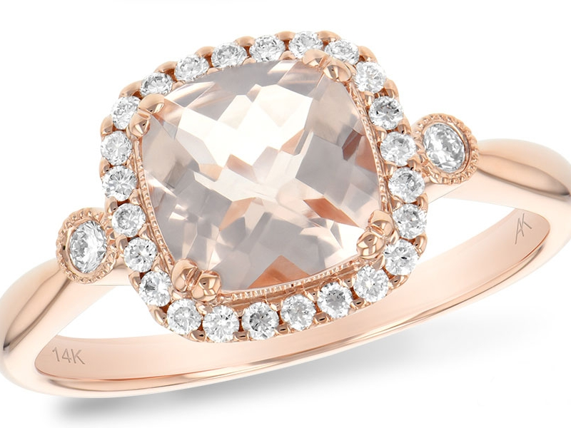 14 Karat Rose Gold Halo Ring With One 1.10Ct Cushion Morganite And 26=0.16Tw Round Diamonds