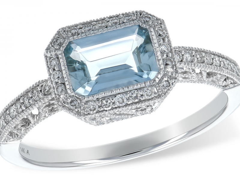 14K .67 TCW Aquamarine and .14 TCW Diamond Ring
