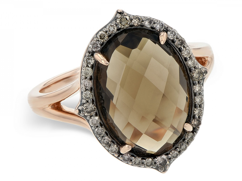Checkerboard-cut Smoky Quartz and Diamond Ring in 14K Rose Gold