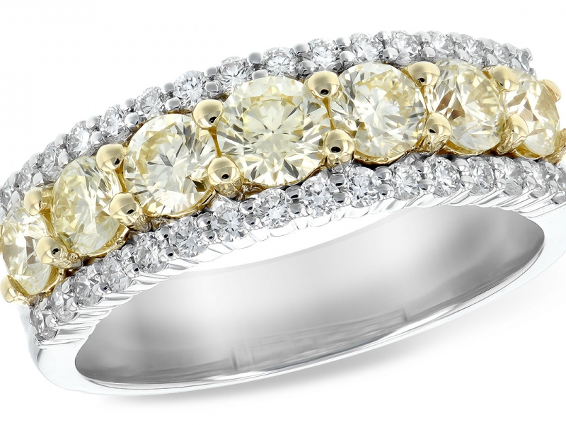 Anniversary ring in 14K White Gold with Graduated 1.28 tdw yellow diamonds and .40tw diamonds